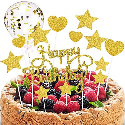 Quazilli Tortendeko Happy Birthday Tortendeko Kuchen Deko Tortendeko Geburtstag Torten Deko Cake Topper für Geburtstagsfeier Dekoration für Mädchen Junge