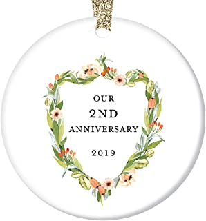 2nd Wedding Anniversary Ornament 2019 Second Christmas 2 Years Married Pretty Holiday Ceramic Keepsake Present Couple Husband & Wife Marriage 3