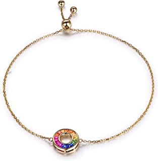 Daesar 18K Yellow Gold Charm Bracelet Women Round 0.7ct Ruby Friendship Bracelet Chain Bracelet Women Gold