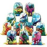 BeebeeRun 12pcs Mochilas Dinosaurio Bolsas de Cuerdas para Infantil Niños niñas,Mochila con Cordón Party Bolsas Saco de Deporte Infantil Fiesta de Cumpleaños Regalos