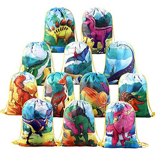 BeebeeRun 12 Pack Sac de Gym pour Enfants Filles Garçons,Dinosaure Sac à Dos Cordon Sac pour Jouet,Sacs de Cadeau Décoration de Fête