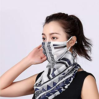 3pcs Floral Chiffon Face Shield Mask Respirator Neck Gaiter Breathable Scarf Bandana Sun Protection for Women Girls Dust, Pollen Prevention (Style 1)