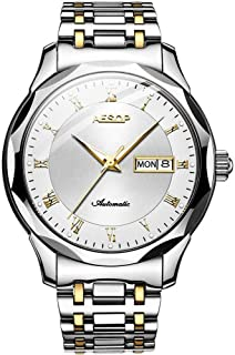 Aesop Men Luxury Analog Japanese Automatic Self Winding Mechanical Day Date Wrist Watch with Tungsten Steel Band Luminous Silver Gold White