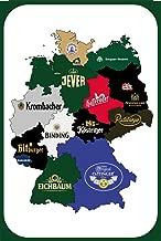 German Beer Map Design Tin Sign Kitchen and Dining Room House Decor Food Drink Bar 20 cm x 30 cm