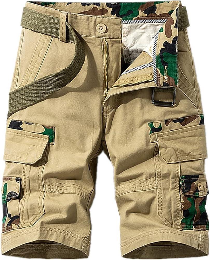 NP Men's Shorts Solid Casual Short Multi Pocket Fitness