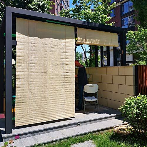 Velas de sombra Persianas Enrollables para Exteriores para Pérgola, Cortina Parasol Resistente de Color Beige Resistente Persianas Enrollables Impermeables para Porche de Patio de Jardín, 90% de Bloqu