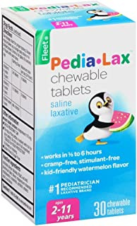 Pedia-Lax Children's Chewable Magnesium Hydroxide Laxative Tablets, Watermelon Flavor, 30-Count Boxes (2 Pack)