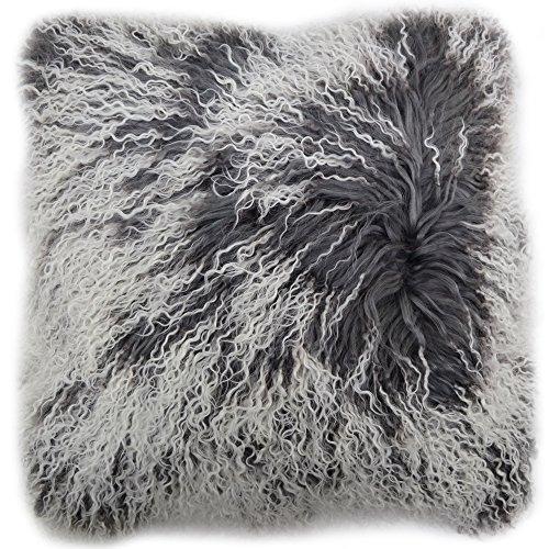 Snugrugs Kissenbezug mit Innenkissen, mongolisches, langes, gelocktes Schafsfell