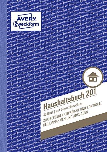AVERY Zweckform 148 x 210 mm Haushaltsbuch (A5, mit Jahresübersicht, 36 Blatt) weiß