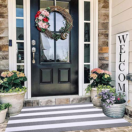 Grey and White Striped Rug Outdoor 3'x5', Cotton Hand-Woven Gray Striped Door Mat, Reversible Foldable Washable Gray Outdoor Rug Stripe for Layered Door Mats Porch/Front Door (35.4''x59'')