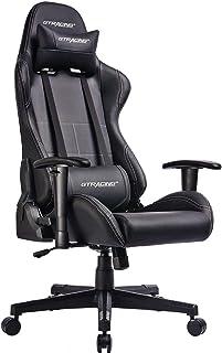 GTRACING ゲーミングチェア オフィスチェア リクライニング 多機能 パソコンチェア 事務椅子 ゲーム用チェア ヘッドレスト ランバーサポート ひじ掛け付き PUレザー 黒い GTBEE-BLACK