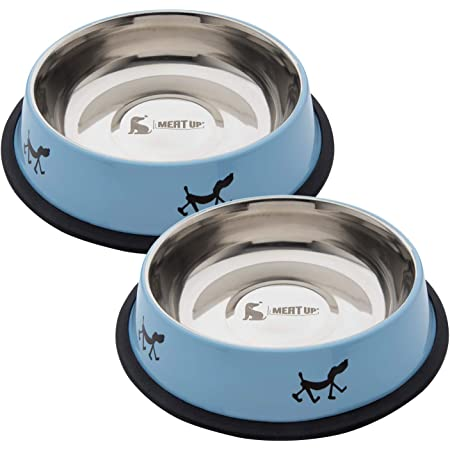 Meat Up Stainless Steel Dog Feeding Bowl, Blue Colour, Medium (Buy 1 Get 1 Free), 700 Millilitre