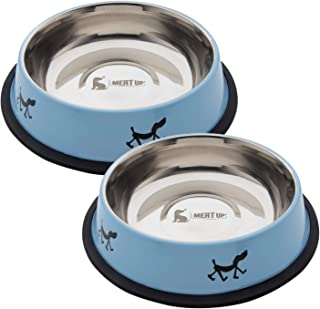 Meat Up Stainless Steel Dog Feeding Bowl, Blue Colour, Medium - 700ml (Buy 1 Get 1 Free)