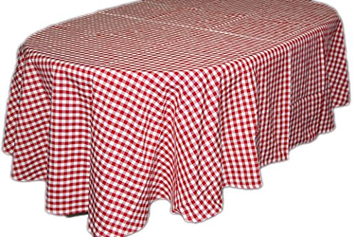 Pflegeleichte Tischdecke Oval 160x220 cm Decke Unterdecke Rot Weiß Kariert Gartendecke Küchendecke Landhaus
