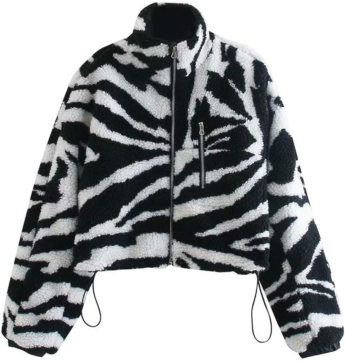 chouyatou Women's Casual Zebra Stripe Print Short Fuzzy Faux Fur Sherpa Jacket