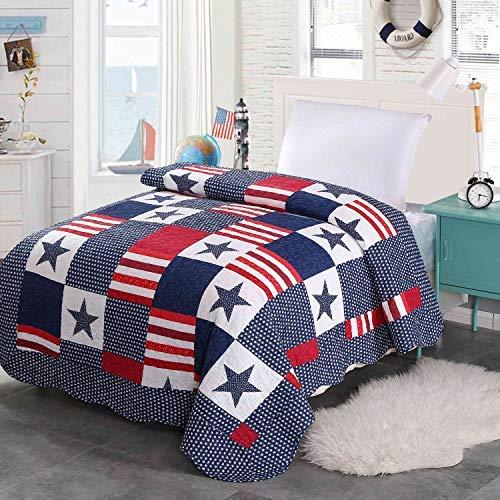 Alicemall Colcha Patchwork 150x200cm Estampado Estrellas Azul Colcha Bouti para Cama 90cm Colcha Infantil