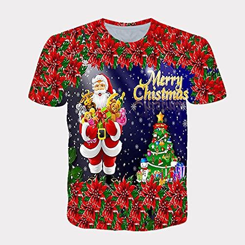LIUBAOBEI 3D Camisetas para Hombre,Flores Rojas Patrón Navideño Verano Camiseta Impresa En 3D Hombres Mujeres Moda Streetwear O-Cuello Manga Corta Camiseta De Hip Hop Camisetas Harajuku Ropa-S