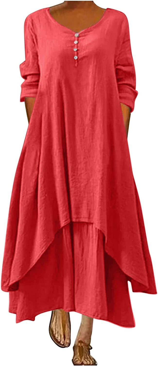 POTO Summer Dress for Women, Women's Casual Irregular Dresses O-Neck Plus Size Loose Solid Color Long Beach Dress Red