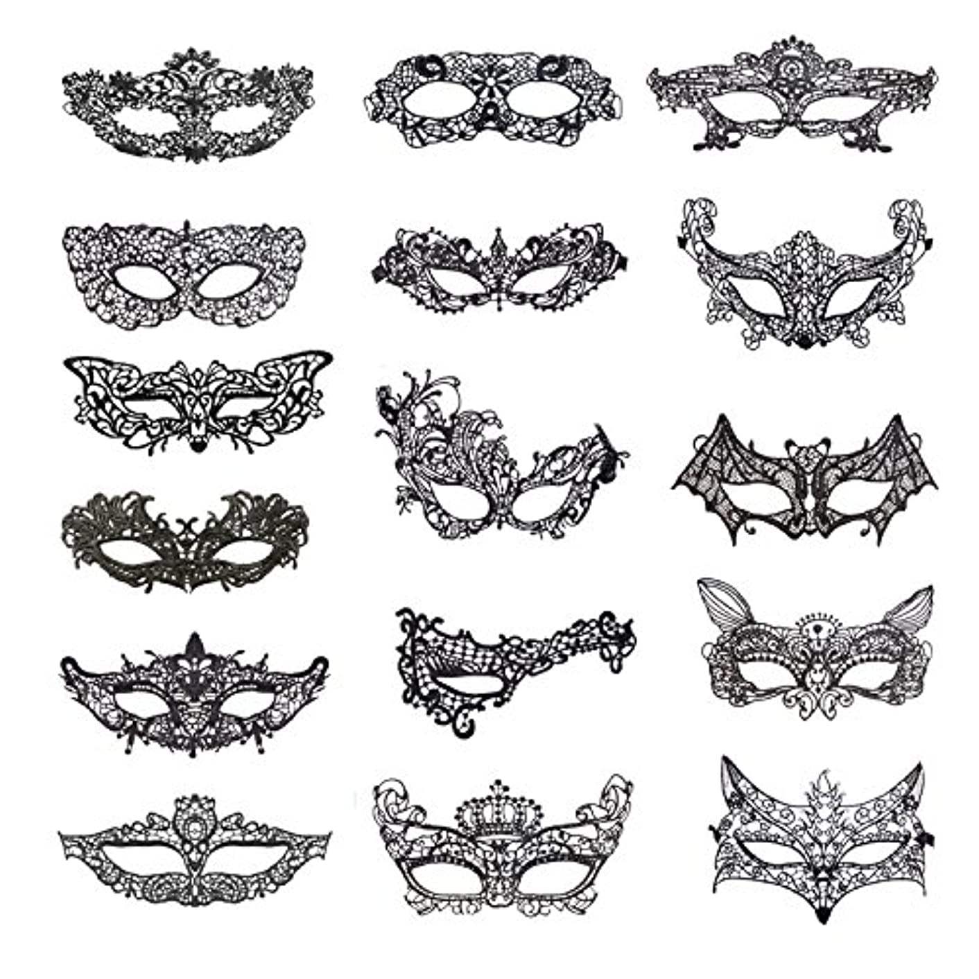 Coobey 16 Pieces Lace Masquerade Mask Venetian Halloween Costume Sexy Woman Mask for Halloween Masquerade Party, Black