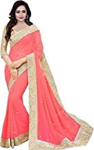 Effigy onlinehub Women's Chiffon Saree with Blouse Piece(peach)