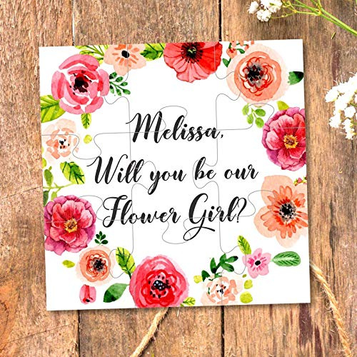 Flower Girl Gift Will You Be My Flower Girl Wedding Flower Girl Proposal Puzzle invitations