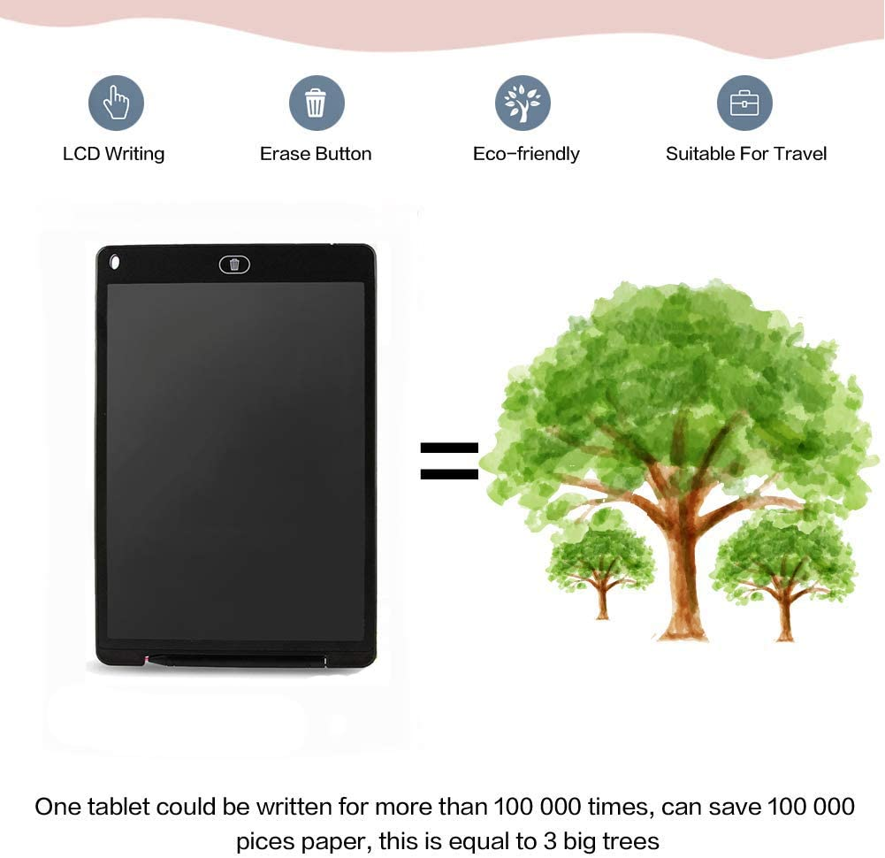 Black 12 Inch Digital Electronic Graphics Writing Tablet Erase Button Mini Board Handwriting Pad Doodle Board for Kids Gift JRMU LCD Drawing Tablet