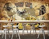 Afashiony 3D Tapeten Wohnzimmer Fototapete Decor Wandbilder Moderne Wanddeko Landschaft Wandbild Harley Motorrad Lokomotive Englische Handbemalte Motorrad Fototapete-450Cmx300Cm