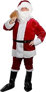 Christmas Santa Claus Costumes Plush Men's Pub Flannel Crawl Santa Suit Xmas Suit (B) Wine Red