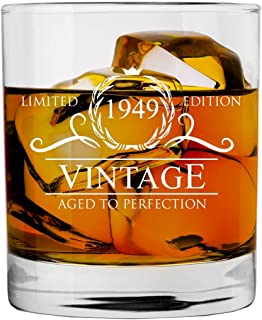 1949 70th Birthday Gifts for Women and Men Whiskey Glass   Funny Vintage 70 Year Old   Anniversary Gift Ideas Him Her Dad Mom Husband Wife   11 oz Whisky Bourbon Glasses   Party Supplies Decorations