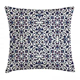 Ambesonne Orient Throw Pillow Cushion Cover, Moroccan Floral Pattern with Victorian Rococo Baroque Design, Decorative Square Accent Pillow Case, 18' X 18', Cream Indigo