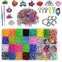 Loops Bänder Set zum Basteln -- Loops gummis Über 1500+ Bander hochwertige gummibänder in 22 verschiedenen Farben,Über 36 S-Clips + Über 70 Perlen verschiedener Formen + 12 Gummi-Anhänger(Zufallsform der Farbe) + 2 Klein Häkelnadeln + 2 Y Webrahmen +...