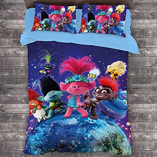 H-LIFE Juego de ropa de cama Trolls Poppy, Trolls World, 100% microfibra, suave y agradable a la piel, sin irritación, para niñas y niños (rolls-2,155 x 220 cm + 80 x 80 cm x 2)