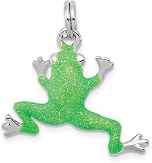 925 Sterling Silver Green Enamel Frog Pendant Charm Necklace Animal Fine Jewelry Gifts For Women For Her