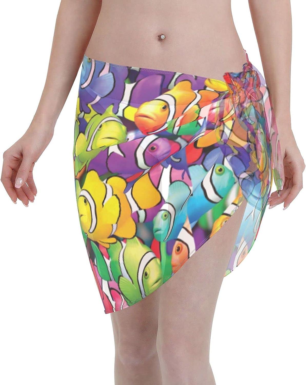 Tiogumg Colorful Fish Women Short Sarongs Beach Wrap Sheer Bikini Wraps Chiffon Cover Ups for Swimwear Black