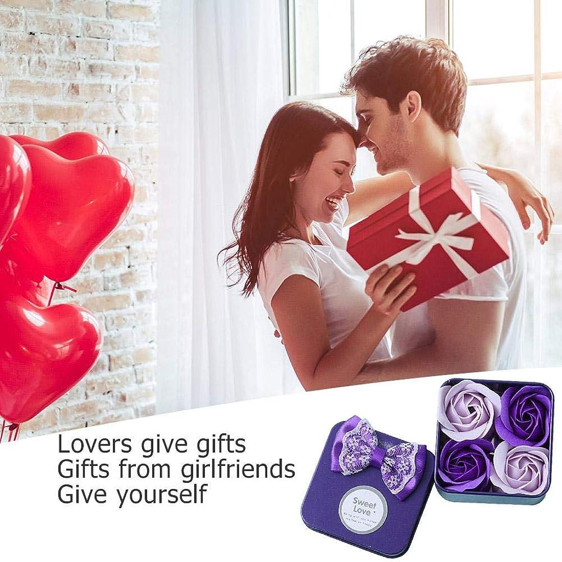 悩み勧告放射性ローズフラワー石鹸 香料入り 風呂 花びら石鹸 香り石鹸 バレンタインデーギフト 4個/ボックス 手作り 母の日 誕生日プレゼント 贈り物 お祝い Amiu