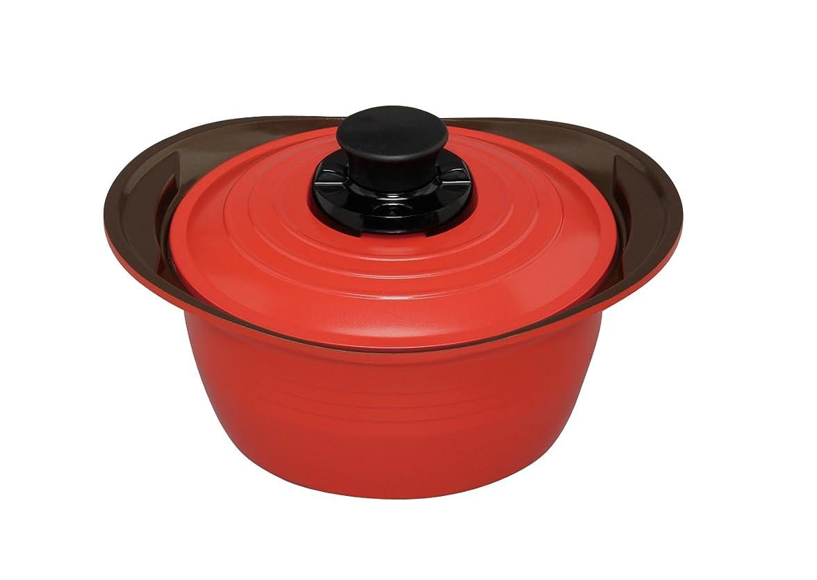 アイリスオーヤマ 両手鍋 無加水鍋 20cm 深型 レッド MKS-P20