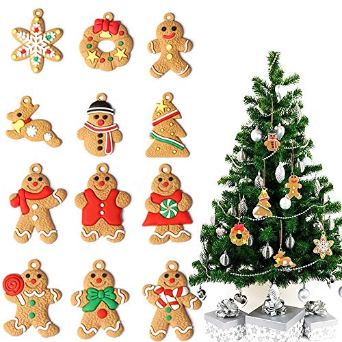 12 Styles Gingerbread Christmas Ornament,Gingerbread Man Decoration for Christmas Tree-Hanging Ornaments Set for The Home Indoor Outdoor Personalized Holiday Christmas Theme Party Decorations Supplies