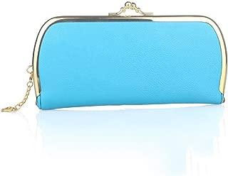 Women Lichee Pattern Evening Clutch Bag Ladies Day Clutch Purse Chain Handbag,Blue