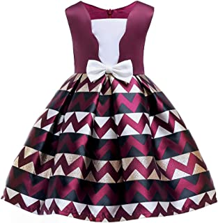 N/X Children's Bow-tie Striped Dress Princess Dress Performance Dress Evening Party Wedding Ceremony for Young Girls Elegant Skirt