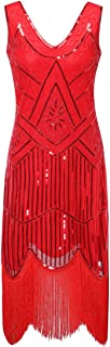Zhisheng You Women's 1920s Gatsby Cocktail Sequin Beaded V-Neck Fringed Tassels Hem Flapper Dress
