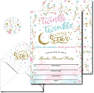 Avamie Gender Reveal Baby Shower Party Invitations with Envelopes, Pink and Blue Twinkle Twinkle Little Star Gender Reveal...