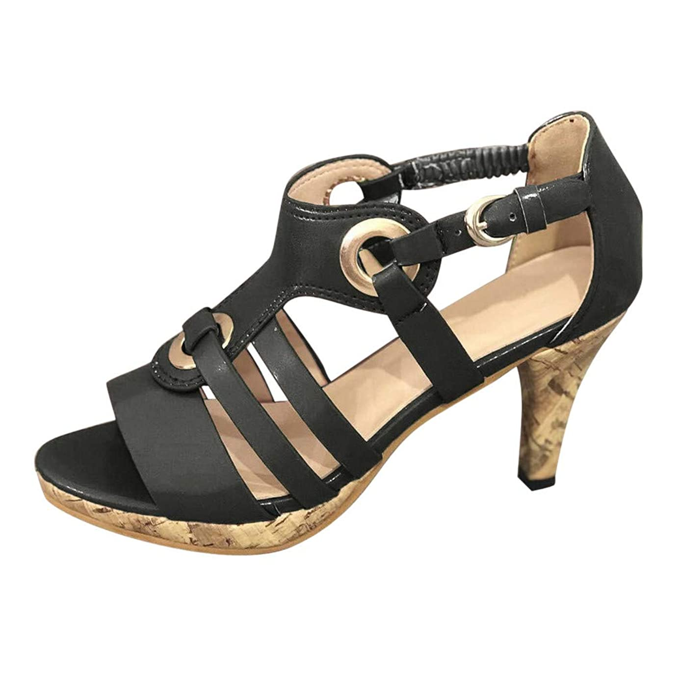 Shusuen Cutout Stacked Heel Sandal Fashion Stilettos Open Toe Pump Heel Sandals