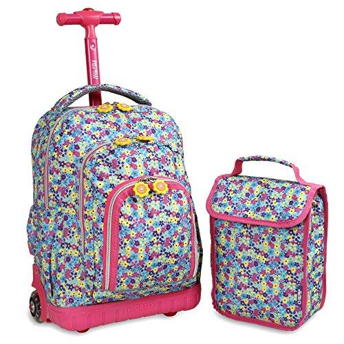 J World New York Kids' Lollipop Rolling Backpack & Lunch Bag Set, Floret, One Size