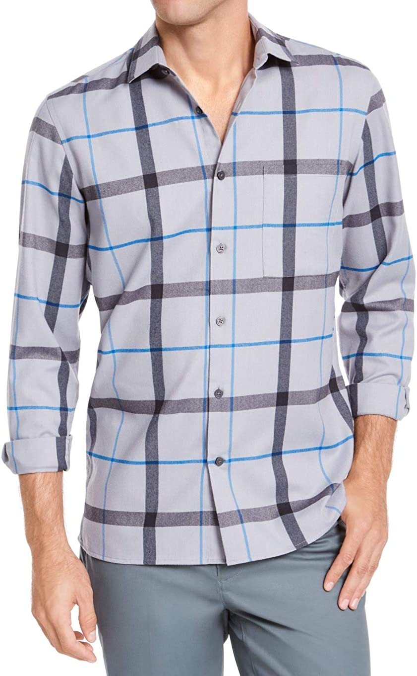 Alfani Mens Gray Plaid Collared Classic Fit Stretch Dress Shirt S