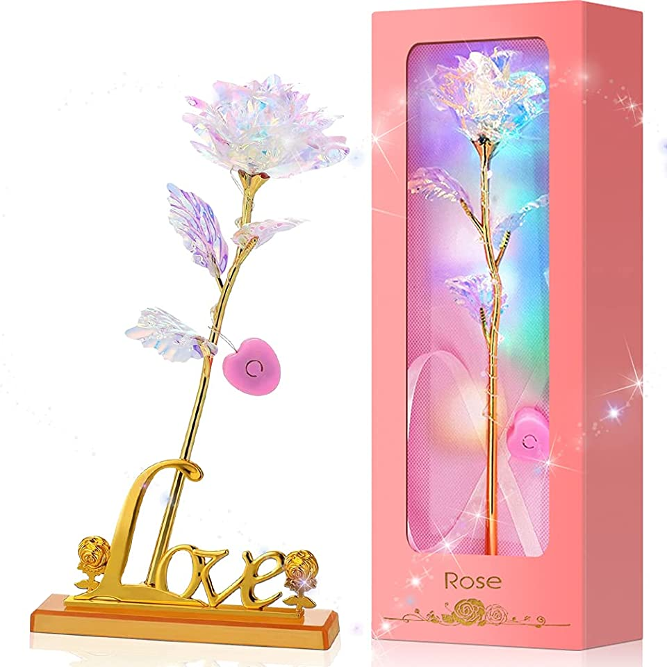 Colorful Galaxy Rose Flower Artificial LED Light Flower Unique with Luxury Gift Box & Love Stand & Card, Forever Gold Rose, Best Gifts for Mom Wife Girl Friends