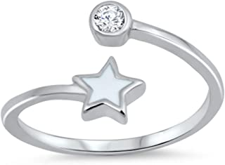 California Toe Rings Women's Sterling Silver Clear Double Crystal Adjustable Midi Above The Knuckle Toe Ring