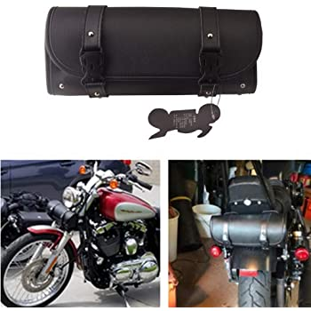 MOTORBIKE MOTORCYCLE MOTOCROSS LEATHER UNIVERSAL TOLL ROLL SADDLE BAG