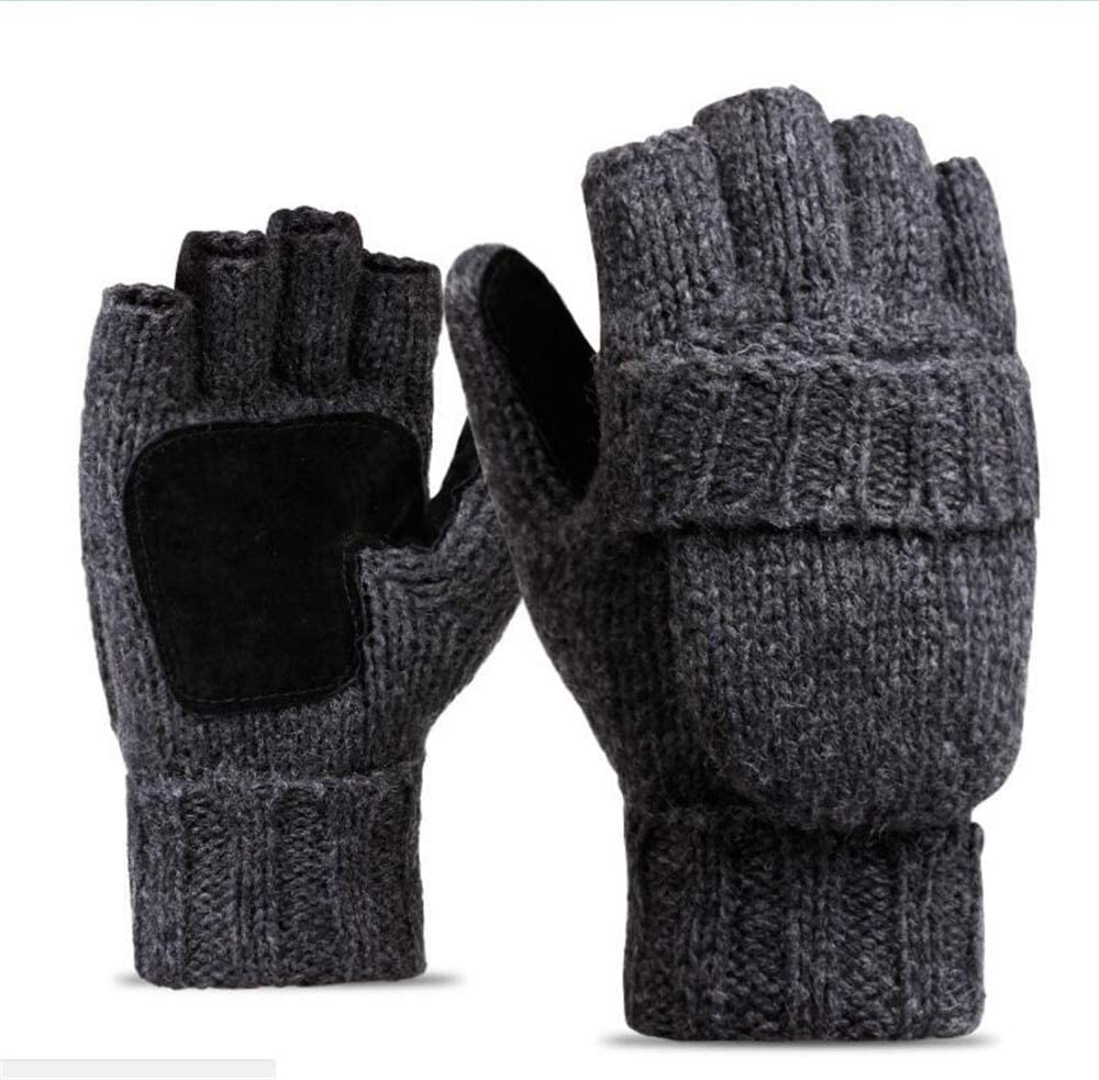 Men's Thinsulate Thick Wool Knitted Half Mitten Suede Palm Gloves Warm Outdoor Riding Gloves - (Color: Dark Grey, Gloves Size: One Size)