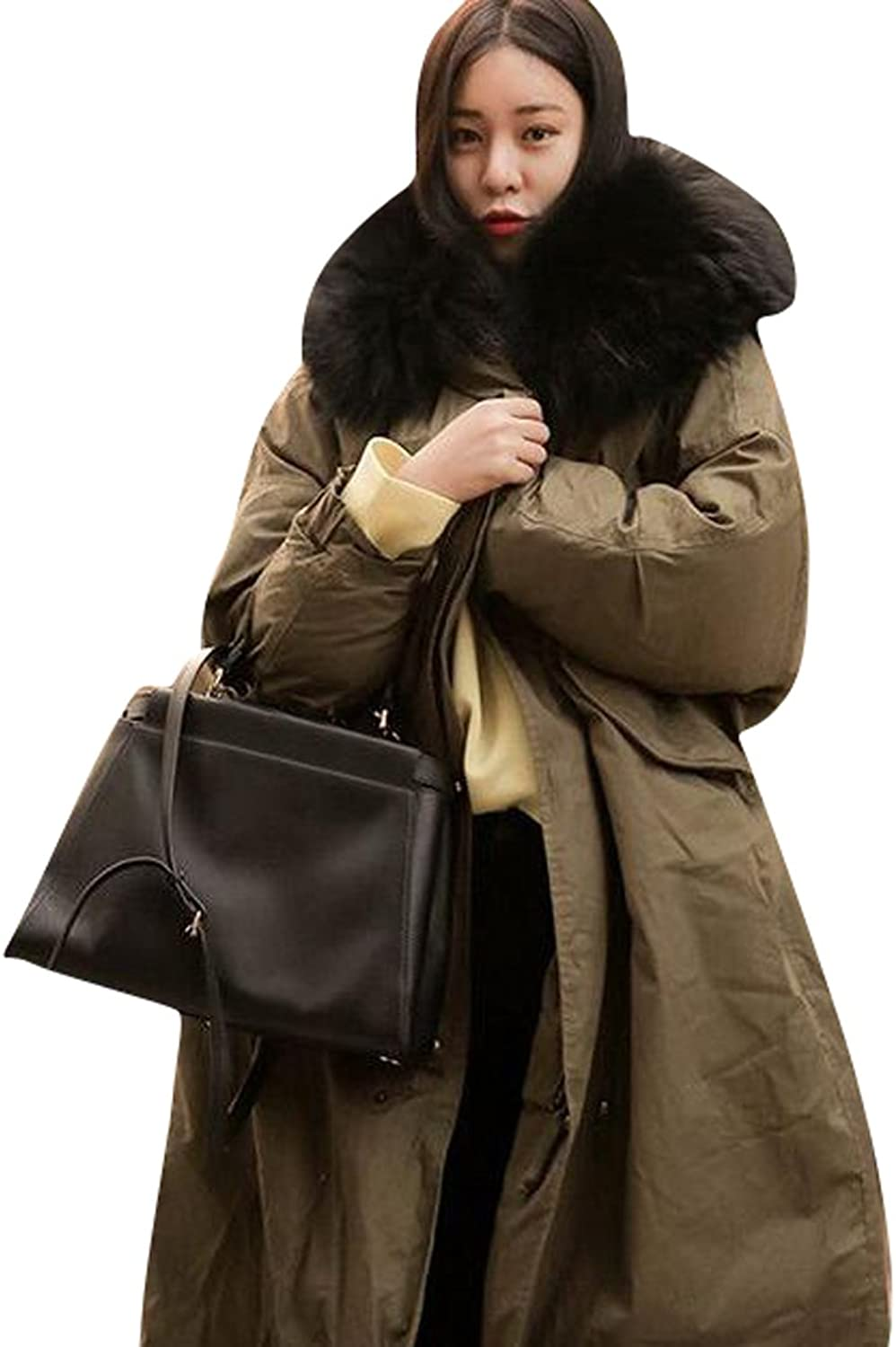OberoraWomen Winter Oversized Faux Fur Hooded Long Quilted Jacket Coat Parka
