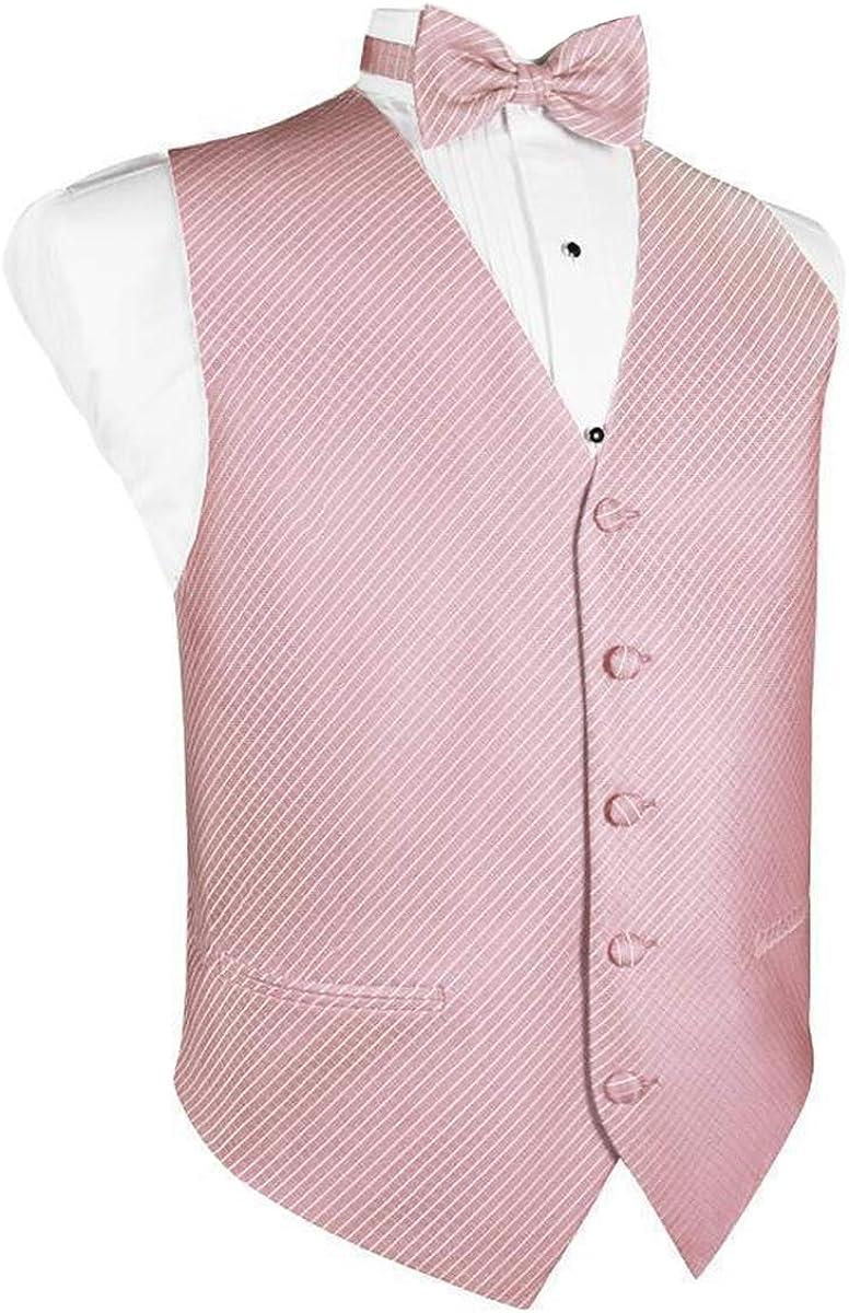 Men's Rose Grid Pattern Tuxedo Vest and Bow Tie